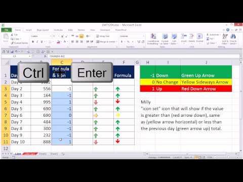 Excel Sihir Numarası 1204: Günün Değiştirmek İçin Koşullu Biçimlendirme: Yukarı Ve Aşağı Ok Tuşlarını Simgesi