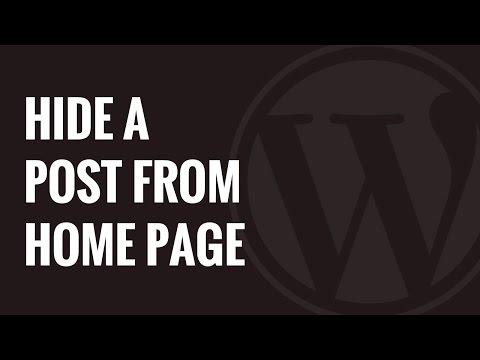 Nasıl Bir Yazı Wordpress Giriş Sayfasından Gizlemek İçin