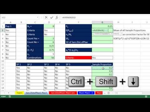 Excel 2013 İstatistiksel Analiz #70: Pbar1 – Pbar2, Ortalama Ve Standart Hata Örnekleme Dağılımı