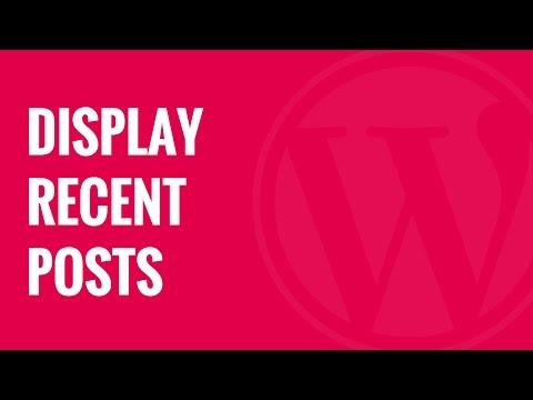 Nasıl Wordpress Son Gönderilen Mesajları Görüntülemek İçin