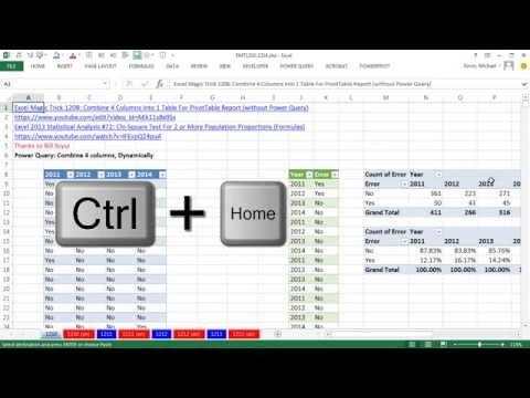 Excel Sihir Numarası 1210: 4 Sütun 1 Tablo Özet Tablo Raporu İçin Birleştirmek İçin Güç Sorgu