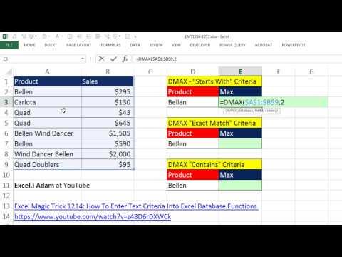 """Excel Sihir Numarası 1217: D İşlevleri: Metin Ölçüt: """"ile Başlar"""", """"tam"""" Ve """"içerir"""""""