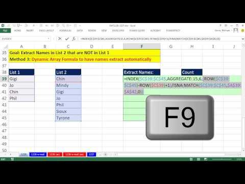 Excel Büyü Hüner 1226: Karşılaştır 2 Listeleri, Ayıklamak Öğeleri İçinde Liste 2 Bu Listede 1 (6 Örnekler) Olmayan