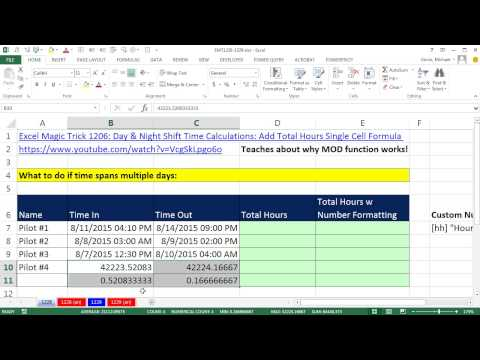 Excel Sihir Numarası 1228: Tarih Ve Saat Değerleri Ve Zaman Özel Sayı Biçimi İçin Formül Çalışılan Saat